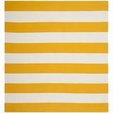 Zipcode Design™ Skyler Striped Handmade Flatweave Cotton Yellow/White Area Rug Cotton in Brown/White/Yellow, Size 96.0 W x 0.25 D in   Wayfair