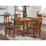 Alcott Hill® Lorelai Butterfly Leaf Rubber Solid Wood Breakfast Nook Dining Set Wood/Upholstered Chairs in Brown, Size 29.5 H in   Wayfair