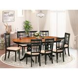 Dining Table, Chairs - August Grove® Pilcher Extendable Solid Wood Dining Set: 1 Table, 8 Chairs, Wood/Upholstered Chairs/Solid Wood