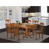 Lark Manor™ Zellmer Extendable Butterfly Leaf Rubberwood Solid Wood Dining Set Wood/Upholstered Chairs in Brown, Size 30.0 H in | Wayfair