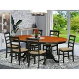 Lark Manor™ Zellmer Butterfly Leaf Rubberwood Solid Wood Dining Set Wood/Upholstered Chairs in Black/Brown, Size 30.0 H in | Wayfair