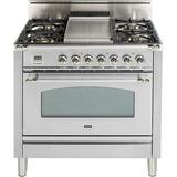 """ILVE Nostalgie Series 36"""" 3.5 cu. ft. Freestanding Gas Range w/ Griddle Finish: Stainless Steel/Chrome, Gas Type: Natural Gas in Bronze/Red/White"""