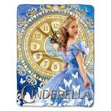 Northwest Cinderella Clock Strikes Fleece Throw Fleece & Microfiber in Blue/Brown, Size 60.0 H x 46.0 W in   Wayfair NW-28425