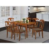 Alcott Hill® Katie Butterfly Leaf Rubber Solid Wood Dining Set Wood/Upholstered Chairs in Brown, Size 30.0 H in | Wayfair