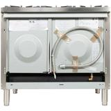 """ILVE Professional Plus Series 40"""" 3.88 cu. ft. Freestanding Dual Fuel Range w/ Griddle Finish: Stainless Steel/Chrome, Gas Type: Liquid Propane"""