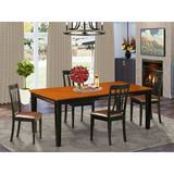 Red Barrel Studio® Loraine Butterfly Leaf Rubberwood Solid Wood Dining Set Wood/Upholstered Chairs in Black/Brown, Size 30.0 H in | Wayfair