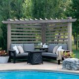 Backyard Discovery Catalina Cabana Pergola 4 Piece Sofa Seating Group w/ Sunbrella Cushions Wood/Sunbrella Fabric Included/Metal/Rust in Brown/Gray