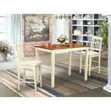 Winston Porter Barview Counter Height Solid Wood Dining Set Wood/Upholstered Chairs in White/Brown, Size 36.0 H x 30.0 W x 48.0 D in | Wayfair