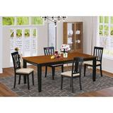 Red Barrel Studio® Loraine Extendable Solid Wood Dining Set Wood/Upholstered Chairs in Black/Brown, Size 30.0 H in | Wayfair RDBL2314 34941197