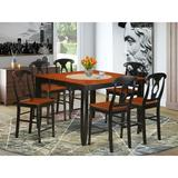 Butterfly Leaf Table, 6 Chairs - Red Barrel Studio® Krull Counter Height Butterfly Leaf Rubberwood Solid Wood Dining Set, 1 Table, 6 Chairs, Black