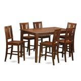 Charlton Home® Sisneros Solid Wood Dining Set Wood in Brown, Size 36.0 H x 36.0 W x 60.0 D in | Wayfair DUBU7H-MAH-W
