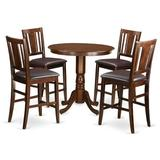 Charlton Home® Speights Counter Height Rubberwood Solid Wood Dining Set Wood in Brown, Size 36.0 H x 36.0 W x 36.0 D in | Wayfair JABU5-MAH-LC