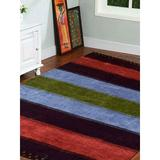 Millwood Pines Square Altha Striped Hand Knotted Silk/Cotton Multicolor Area Rug Silk/Cotton, Size 120.0 W x 0.75 D in   Wayfair