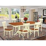 Astoria Grand Gillham Butterfly Leaf Rubberwood Solid Wood Dining Set Wood in Brown/White, Size 30.0 H in | Wayfair