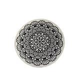 World Menagerie Round Wisen Shag Black/Ivory Area Rug Microfiber in White, Size 39.0 H x 39.0 W x 1.0 D in | Wayfair