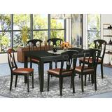Charlton Home® Sisneros Solid Wood Dining Set Wood/Upholstered Chairs in Black/Brown, Size 30.0 H in | Wayfair A06758B1A7B4457AB7032D12F9FF0AA2