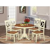 Alcott Hill® Maffra Rubberwood Solid Wood Dining Set Wood in White, Size 30.0 H in | Wayfair B671AFBC7CF1407F8E16C3288F344BA1
