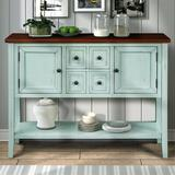 """Gracie Oaks Stride 46"""" Wide 4 Drawer Acacia Wood Buffet TableWood in Blue/Brown, Size 34.0 H x 46.0 W x 15.0 D in   Wayfair"""