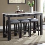 Gracie Oaks Achouhada 4 Piece Counter Height Dining Set Wood/Upholstered Chairs in Brown/Gray/White, Size 36.0 H x 20.0 W x 60.0 D in | Wayfair