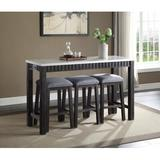 Gracie Oaks Achouhada 4 Piece Counter Height Dining SetWood/Upholstered Chairs in Brown/Gray/White, Size 36.0 H x 20.0 W x 60.0 D in | Wayfair