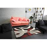 Orren Ellis Jalyn Abstract Shag Area Rug Polypropylene in Red, Size 60.0 H x 48.0 W x 1.0 D in   Wayfair 0D73352897D24DBEA798681C371F75EF