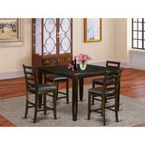 Kitchen Tables & Chairs - Red Barrel Studio® Krull Counter Height Extendable Solid Wood Dining Set, 5 Pieces: 1 Table, 4 Chairs, Beige