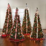 Fully Decorated Pre-Lit 6-Ft. Pop-Up Christmas Tree by BrylaneHome in Red White