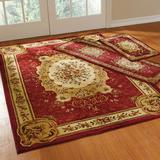 Floral 3-Pc. Rug Set with Runner by BrylaneHome in Red