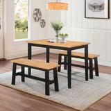 New York Table & 2 Benches by 4D Concepts in Natural Black
