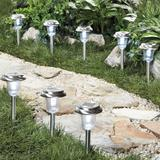 Stainless Steel Solar Pathway Lights, Set of 8 by BrylaneHome in Stainless Steel