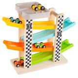 Hey! Play! Wooden Toy Race Track and Racecar Set with 4 Colorful Cars, Multicolor