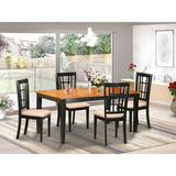 August Grove® Cleobury Extendable Solid Wood Dining Set Wood/Upholstered Chairs in Black/Brown, Size 30.0 H in | Wayfair