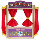 Hey! Play! Wooden Tabletop Puppet Theater, Red