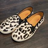 J. Crew Shoes | Black & White Faux Fur Sneaker Slip On J Crew | Color: Black/White | Size: 9