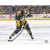"""Kris Letang Pittsburgh Penguins Unsigned Black Jersey Shooting Photograph"""