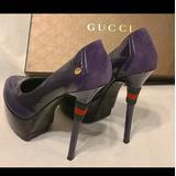 Gucci Shoes | Gucci Heels Platform Pumps Shoes Designer Fashion | Color: Gold/Purple | Size: 7