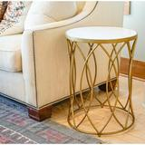 Mercer41 Stansfield Marble Top Frame End Table Metal in Yellow, Size 24.5 H x 18.0 W x 18.0 D in | Wayfair C8BA9CE236D248E08AFD03A0793A9257