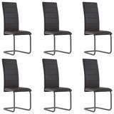 vidaXL 3052978 Cantilever Dining Chairs 6 pcs Brown Faux Leather