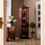 Lighted Corner Curio Cabinet by BrylaneHome in Mahogany