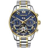 LOREO Luxury Mens Automatic Watches Tourbillon Silver Stainless Steel Bracelet Sapphire Glass Blue Dial Date Waterproof Business Watch (Steel Bracelet/Blue dial)