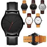 CdyBox 6PCS Men Minimalistic Leather Watches Quartz Wristwatch Business Watch Christmas Gifts