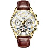 Luxury Mens Leather Watches Automatic Tourbillon Sapphire Glass White Gold Dial Date Waterproof Business Watch (Leather Strap/White Dial)
