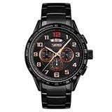 Mens Sports Watches Black Stainless Steel Men's Chronograph Watch Fashion Business Analog Quartz Date Watches