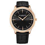 Stuhrling Original Mens Dress Watch Slim Analog Watch with a Genuine Leather Strap Minimalist Wrist Watch with Quartz Movment Watches for Men (Rose/Black)