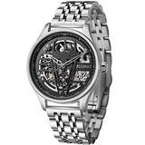 Ruimas Automatic Mechanical Watches Men Luxury Skeleton Dial Stainless Steel Watch Man Business Sport Waterproof Wristwatch
