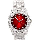 Bling-ed Out Round Metal Mens Color on Blast Silver Tone Watch with Diamond Time Indicators - Ice on Fire!!! - ST10327DxxS (Silver Blood Red)