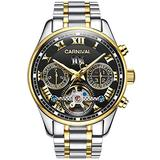 LOREO Luxury Mens Automatic Watches Tourbillon Silver Stainless Steel Bracelet Sapphire Glass Black Dial Date Waterproof Business Watch (Steel Bracelet/Blakc dial)