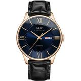 Men's Automatic Self-Wind Watches Ultra Thin Waterproof Week & Date Leather Strap Dress Watches (Black Leather - Blue)