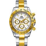 Road Warrior Paulareis Mechanical Wristwatch 300m Dive Watch Mechanical Steel Stainless Case Sapphire Glass Automatic Yacht Master GMT Watch Steel Diving (Gold and Stainless Steel)