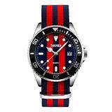 Mens Fashion Watch Nylon Band Watches for Men Unidirectional Rotating Bezel Dress Wrist Watch
